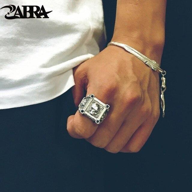 ZABRA регулируемый размер, искусственное серебряное кольцо с черепом для мужчин, циркониевое кольцо, Винтажное кольцо, рок, байкерское ювелирное изделие
