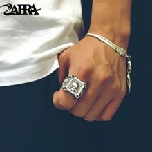 Zabra Verstelbare Maat 925 Sterling Zilveren Schedel Ringen Voor Mannen Zirkoon Ring Vintage Puck Rock Biker Sieraden