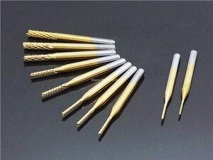 Image 3 - 10 stücke Set 0,8 3,175mm Titan Beschichtete Hartmetall schaftfräser Gravur Rand Cutter CNC Router Bits Ende mühle für PCB Maschine