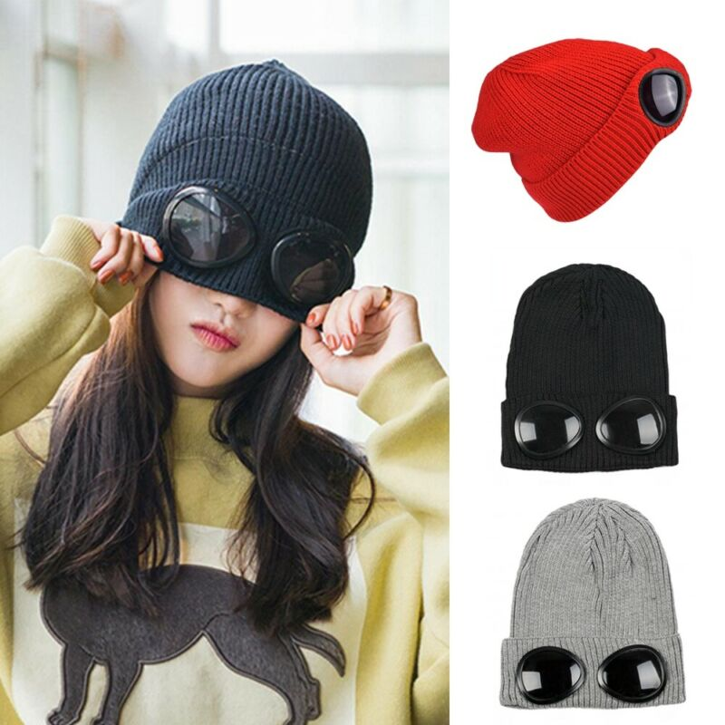 Women Winter Ski Hat With Glasses Lady Warm Skull Knitted Cap Solid Color Beanies Hat New Fashion 2019