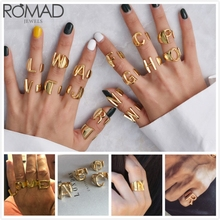 ROMAD Wide Intial Letter Rings For Women/Men Wedding Bands Gold Adjustable Finger Ring Girl Statement Punk anillos R5