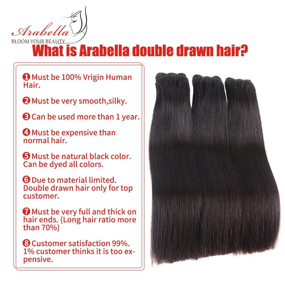 Double Drawn Bone Straight Hair  Bundles Vrigin Hair  Natural Color Thick Ends Hair Bundles Arabella Hair Bundles 3