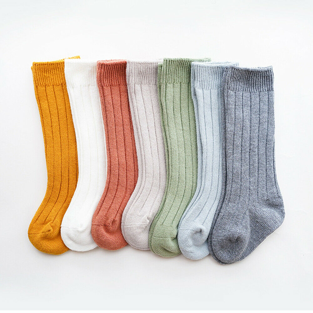 Kids Toddler Infant Baby Girls Boys Solid Anti Slip Knitted Long Stockings Cotton Knee Stockings|Tights & Stockings| - AliExpress