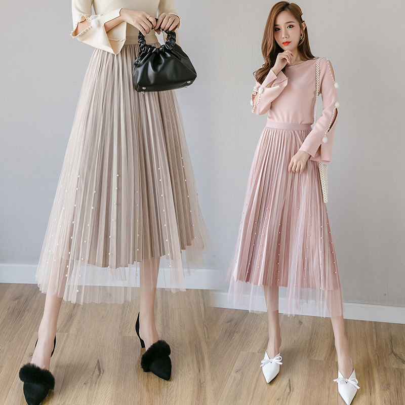 WOMEN'S Dress Gauze Beads Skirt Gold Velvet Pleated Skirt Slit Long Sleeve Hollow Out Furry Ball Sweater