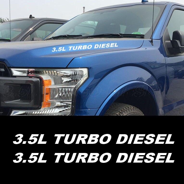 2 шт. 3.5L дизель турбо двигателя капот наклейки эмблема Стикеры для Ford F150 Ram 1500 Chevrolet Silverado GMC Сьерра-Duramax