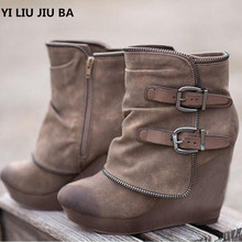 winter Women snow Boots Round Toe Slip On casual Wedge women shoes High Heels wo