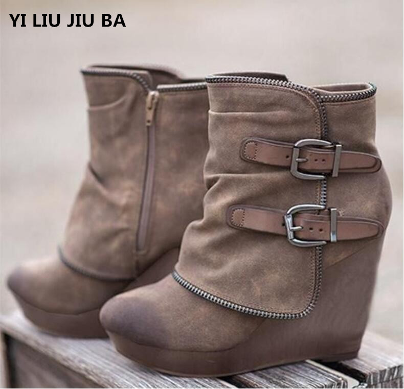 Winter Women Snow Boots Round Toe Slip On Casual Wedge Women Shoes High Heels Women Rome Ankle Boots Plus Size 35-43 Mujer G472