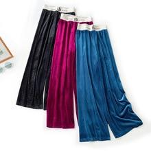 Wasteheart Autumn Women Fashion Blue Red Long Pants Wide Leg Pants High Waist Female Pleated Pants Sweatpants Elastic Waist