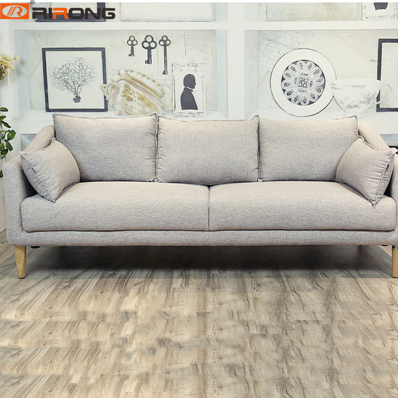 Nodric Modern Style Home Furniture Apartment Simple Wood Grey Fabric Three Seat Living Room Sofa Set Sofa Couch image