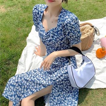 Midi Dress Blue Vintage Casual Dress Short Sleeve Floral Puff Sleeve Plus Size Bodycon Dress 1