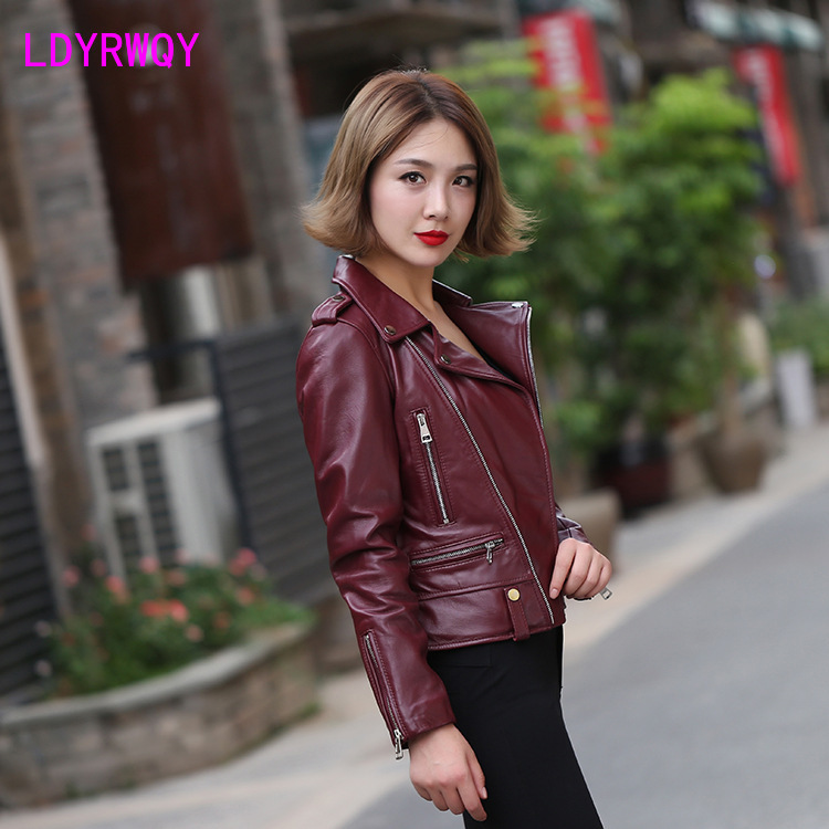 2019 Europe and the United States new women's locomotive short slim leather jacket Turn-down Collar  Regular  Full