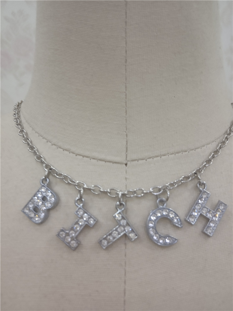 Heb3d0497f4dd48bdb44e1017b9e44d61Q - Harajuku Letter Crystal Angel Necklace Women Jewelry Couple Gift Necklace BABY HONEY Choker Femme Punk Collier Drop Ship