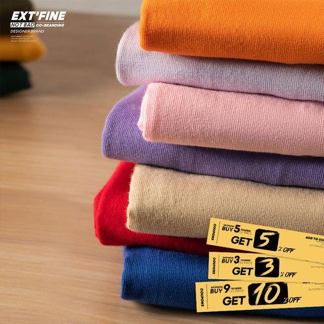 Extfine 100% Combed Cotton Short Sleeve T-shirt Men 2021 Summer Casual Tshirt Women Basic Harajuku Soft T Shirt Tops Tee 4