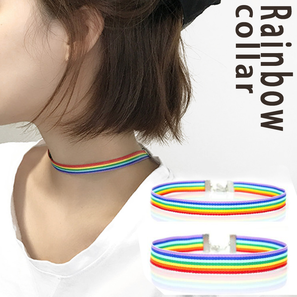 Fashion Colorful Rainbow Choker Necklace Set lavicle Chain Ribbon For Men Women Lesbian <font><b>Bisexual</b></font> <font><b>Pride</b></font> <font><b>Jewelry</b></font> Party Gift image