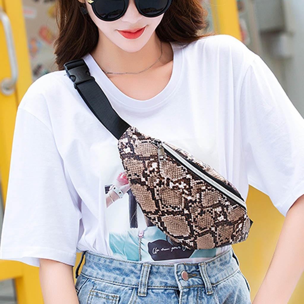 Women Waist Bags Fanny Pack Serpentine Leather Pouch Belt Purse Pouch Mobile Phone Nerka Kidney Chest Bag Sac Banane Femme 2019