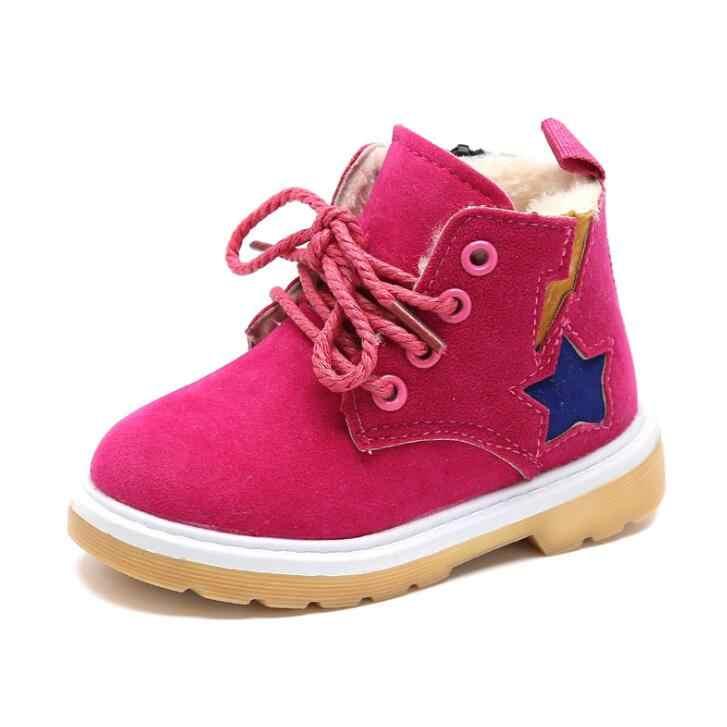 Осень-зима; модные теплые детские ботинки; хлопковая кожаная обувь; Теплые ботильоны для девочек; детская обувь принцессы; размеры 21-30