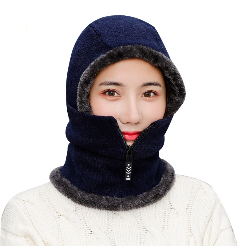 Skullies Beanies Woman Knitted Hat Scarf Female Women Winter Hats For Women Bonnet Solid Balaclava Mask Feminino Beanie Hat Cap