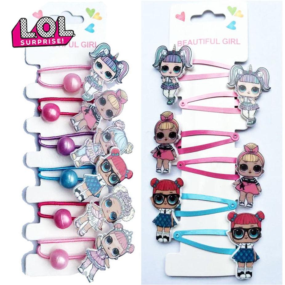 6 pçs lol surpresa boneca hairpin faixa de borracha acessórios para o cabelo dos desenhos animados resina impressão acessórios um conjunto menina headdress