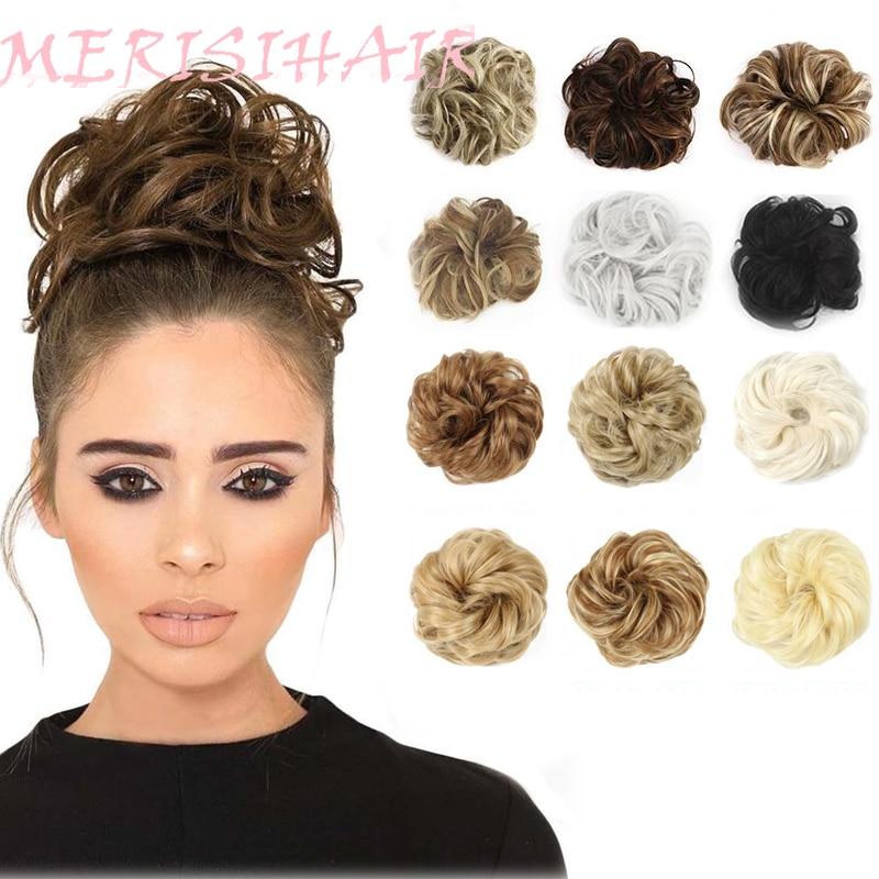Шиньон MERISIHAIR для девушек, кудрявый шиньон с резиновой лентой, коричнево-серая синтетическая резинка для волос, накидка на пучок, хвост