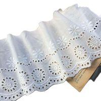 14cm de ancho de algodón caliente blanco bordado Flor de tela de encaje dubai costura DIY trim apliques collar de cinta guipure de boda decoración