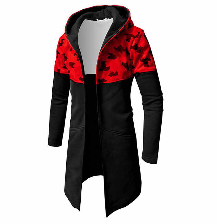 Sudadera con capucha de otoño 2019 para hombre chaqueta Casual larga sección Hip Hop empalme camuflaje Sudadera con capucha para hombre Abrigo con capucha