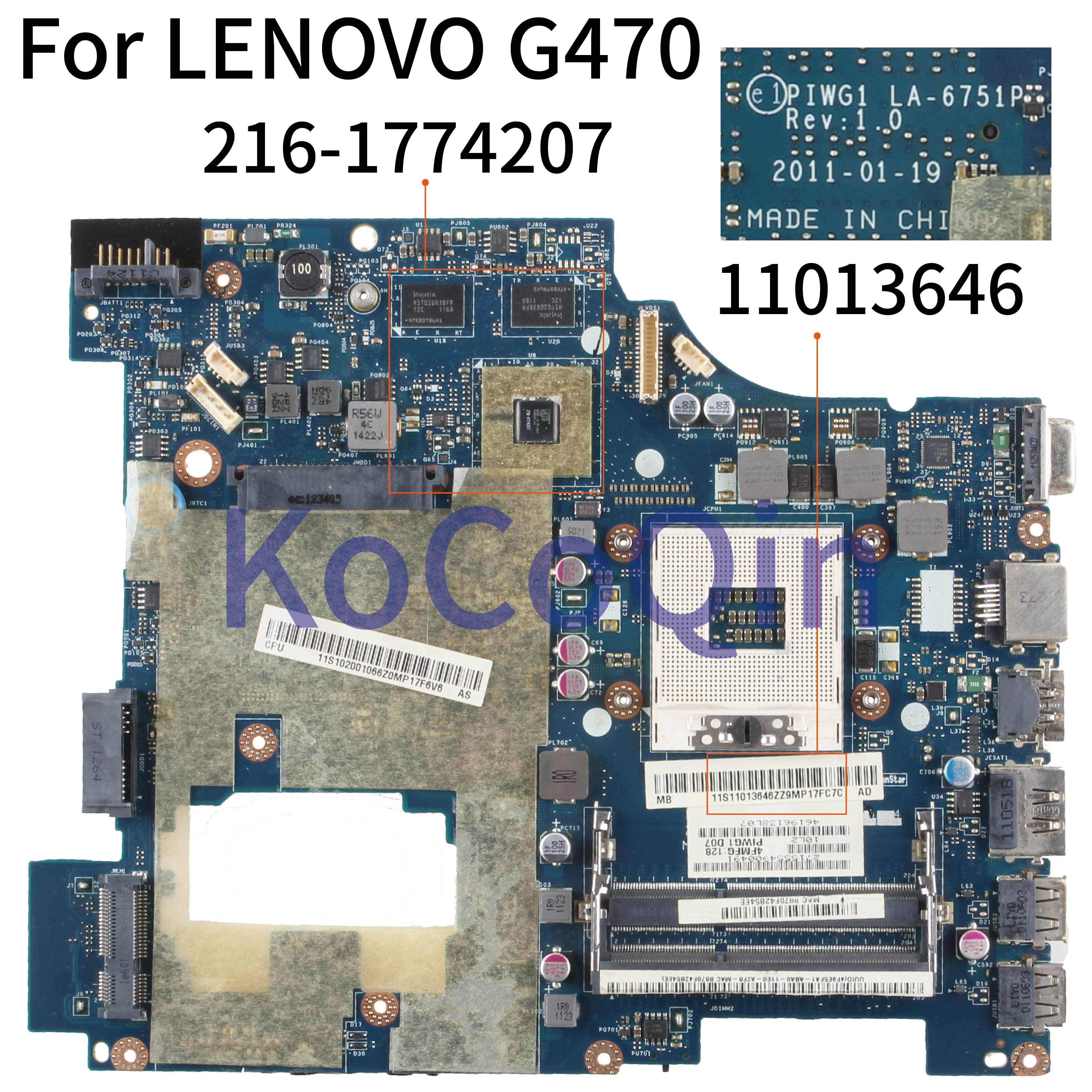 KoCoQin Laptop Motherboard For LENOVO G470 14' Inch HD6370M Mainboard 11013646 PIWG1 LA-6751P HM65 216-1774207
