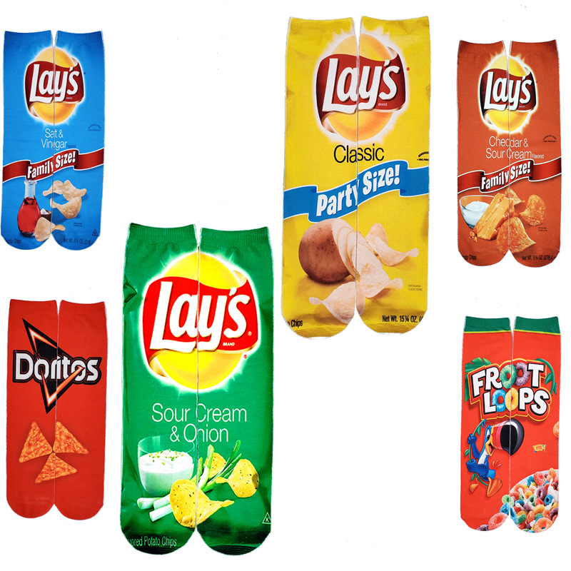 1 Pair Of Funny Unisex Male Art Socks Female Printed Potato Chips Knee High Socks Cotton Art Long Socks Male