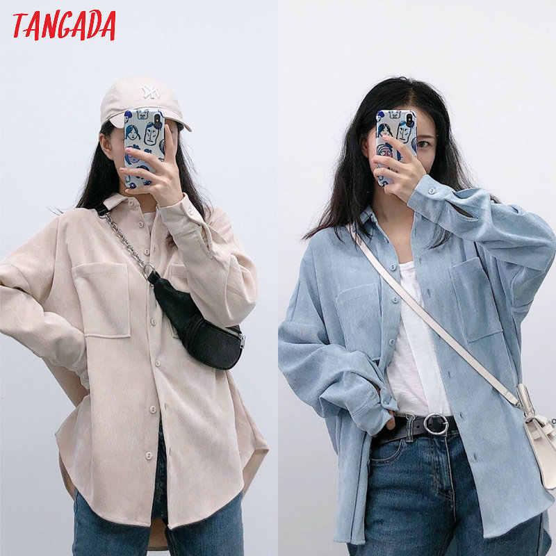 Tangada 여성 preppy 특대 코듀로이 셔츠 blusas mujer 드 moda 남자 친구 스타일 셔츠 여자 정상 6P59