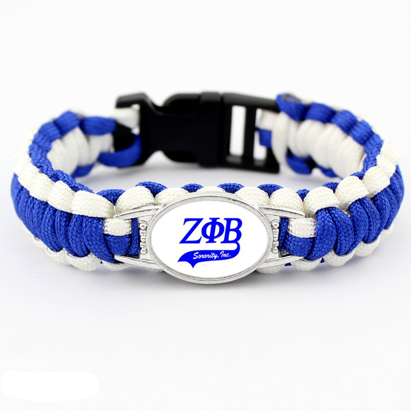 Fashion Greek Letters ZPB Sorority Bracelet Jewelry ZETA PHI BETA Charm Survival Paracord Bracelets & Bangles For Man Woman
