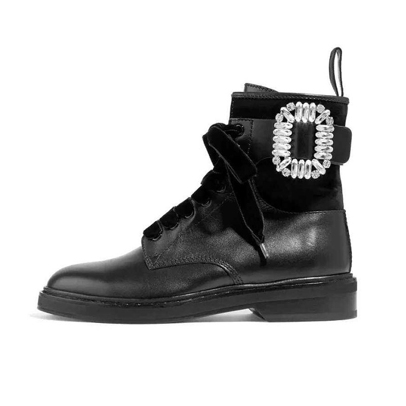 Winter Warm Plush Boots Combat Leather Ankle Boots Women Rhinestone Buckle Embellished Black Leather Round Toe Motorcycle Boots