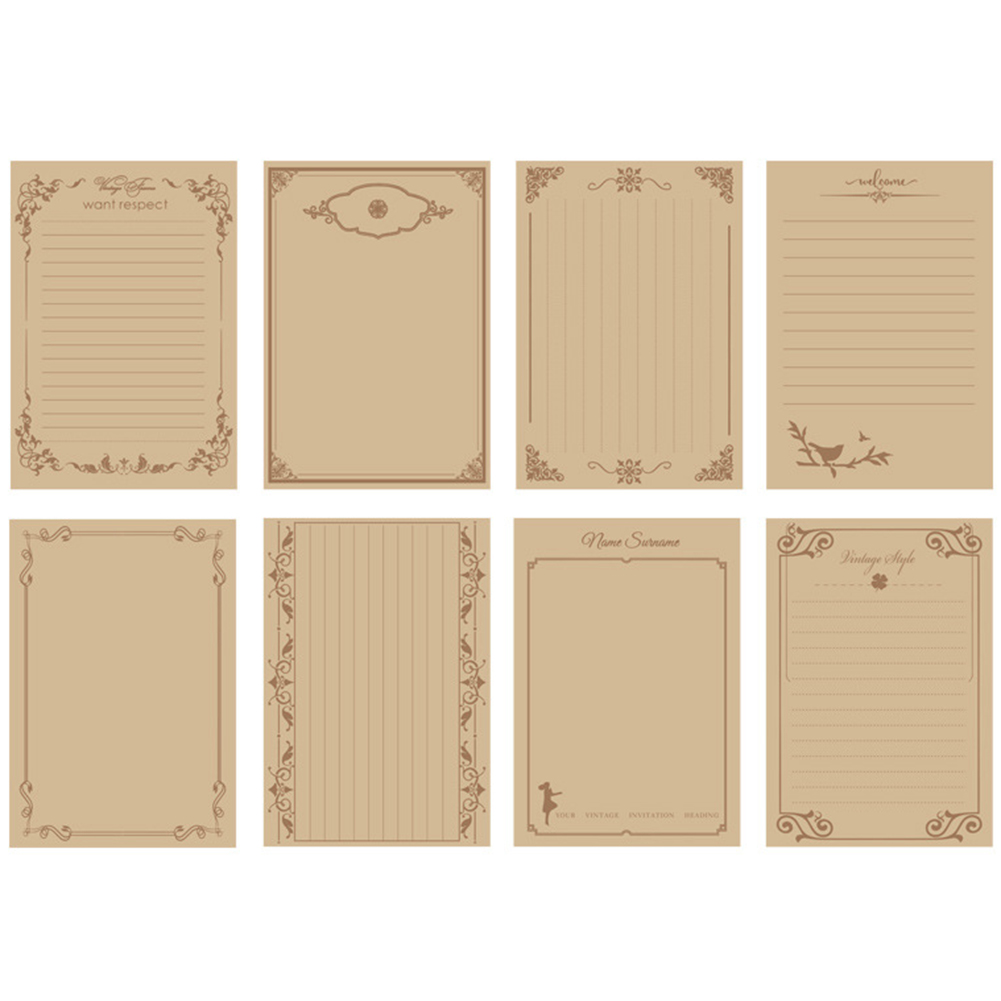 8 Sheets Vintage Letter Paper Wedding Invitation Writing Stationery Paper Pad Note Letter School Office Supplies
