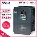 Sako SKI670 5.5KW VFD вход 220В 1ph на выход 380В 3ph высокопроизводительный инвертор переменной частоты