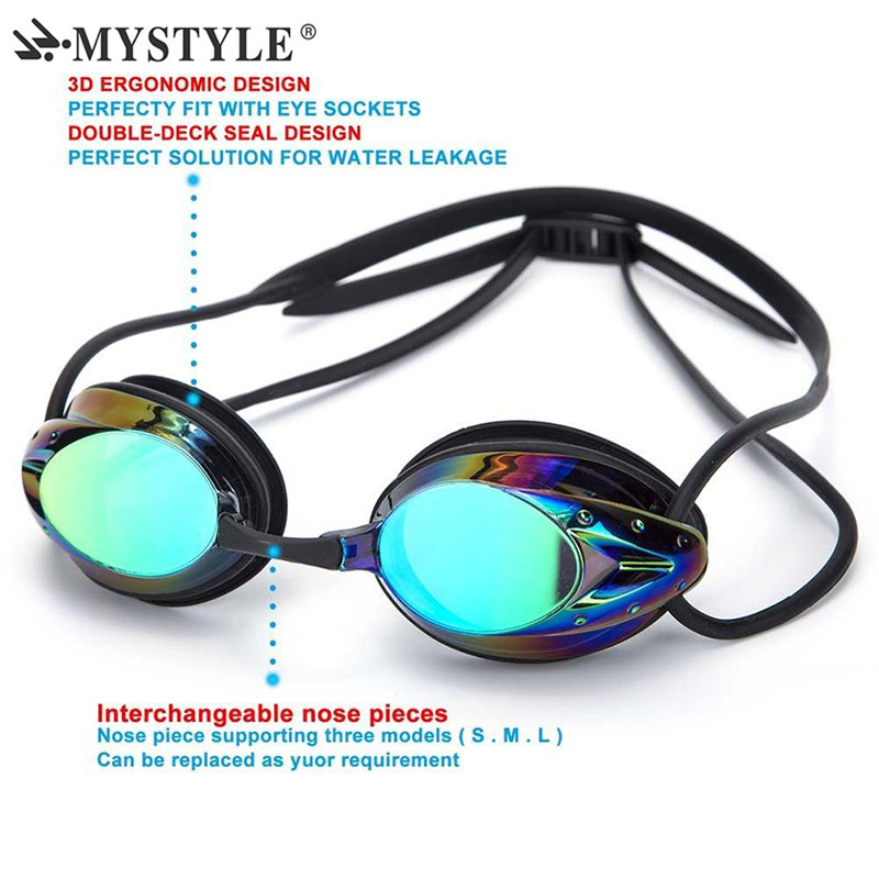 2020 Mystyle Swim Goggle Adult Adjustable Electroplating Water Resistant Anti fog UV Protection Swimming Goggle 6
