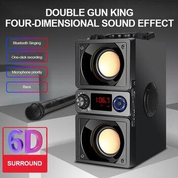 Alto-falante portátil Bluetooth 5.0 Ao Ar Livre Sem Fio 6D Surround Stereo Rádio FM Microfone Suporte Cartão TF KTV Partido Subwoofer 1