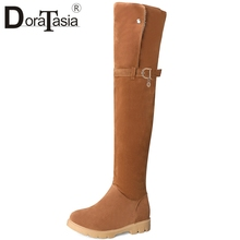 DORATASIA New Arrival Big Size 34-43 Thigh High Boots 2 Style Belt Buckle Shoes Woman Casual Winter Over The Knee Women