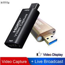 H1111z 4k placa de captura vídeo usb3.0 2.0 hdmi grabber caixa gravação vídeo para ps4 jogo dvd filmadora câmera ao vivo streaming