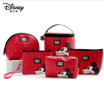 1 pc Disney Mickey Minnie Mouse portable cosmetic make up bag multi-purpose storage tsum cartoon cute coin purse handbag red bag