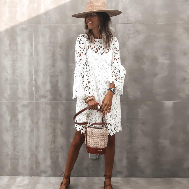 2021 New Lace Flared Sleeve Ruffled Dress Two-Piece Female Spring And Summer Solid O-Neck Elegant Casual Party Dresses S-5XL 3