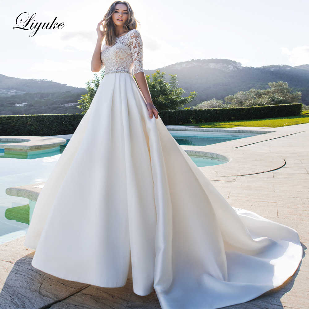 Liyuke Half Sleeve Of Satin A-Line Wedding Dress With Elegant Lace Court Train Wedding Gown
