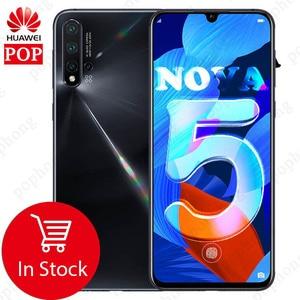 Image 1 - 6,39 дюймов Оригинальный HuaWei Nova 5 мобильный телефон Kirin 810 Восьмиядерный 8 ГБ 128 ГБ Android 9,0 In screen Fingerprint 3500 мАч