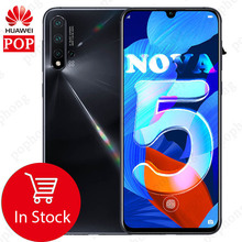 6.39inch Original HuaWei Nova 5 Mobile Phone Kirin 810 Octa Core 8GB 128GB Android 9.0 In screen Fingerprint 3500mAh