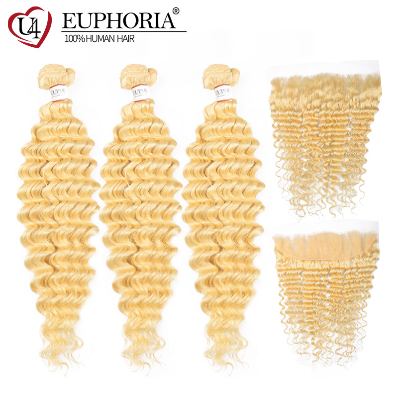 Euphoria Platinum Blonde 3 Bundles With Frontal Brazilian Deep Wave Hair Weaving Remy Human Hair 613 Bundles With Closure 4X13 image
