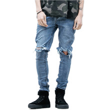 Mens Cool Designer Brand Jeans Skinny Ripped Destroyed Stretch Slim Fit Hop Hop Pants With Holes For Men 2016 new black ripped jeans men with holes super skinny famous designer brand slim fit destroyed torn jean pants for male