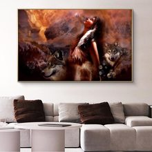 African Girl With Wolf Oil Painting on Canvas Cuadros Posters and Prints Scandinavian Wall Art Picture Home Decor(China)