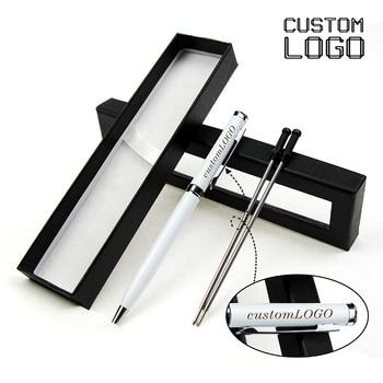 1 Set Of Custom LOGO Creative Metal Ballpoint Pen Hotel Gift Ballpoint Pen School Office Supplies With Pen Case creative resin axe style ballpoint pen