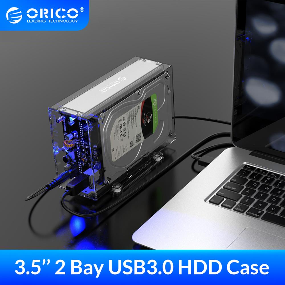 ORICO 3 5 inch 2 Bay HDD Case Transparent External Drive Enclosure SATA to USB3 0 Type-B HDD Box Case with 12V3A Power Adapter