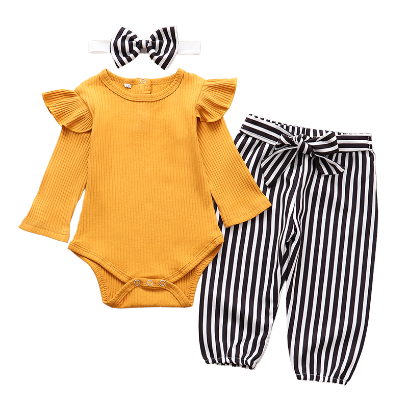 3Pcs Newborn Baby Girl Clothes Set Fashion Autumn Long Sleeve Solid Color Romper Tops Pants Headband Infant Clothing Outfits