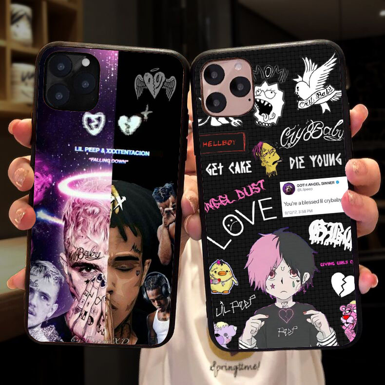 <font><b>Lil</b></font> <font><b>Peep</b></font> and XXXtentacion soft silicone TPU Copue <font><b>Case</b></font> for <font><b>iPhone</b></font> 11 Pro MAX 2019 SE 5 5S 6 6S 7 8Plus MAX XR XS X back Cover image