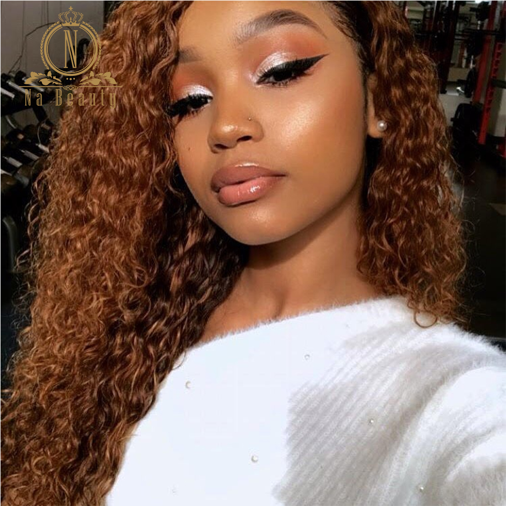 Honey Blonde Curly 13x6 Lace Front Human Hair Wigs Ombre Color Pre Plucked Human Hair Wigs For Black Women Nabeauty 150 Density