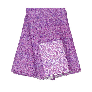 Nigerian Lace Fabric 2020 High Quality Lace Sequin Lace Fabric Wedding Embroidered PURPLE African Nigerian French Lace Fabric